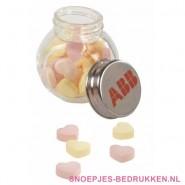 Glazen snoeppot bedrukken, snoeppot met logo, snoeppot bedrukt, goedkoop snoeppotten bedrukken snoeppot met inhoud bedrukken