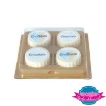 Bonbon set 4 stuks witte chocolade bedrukken met logo